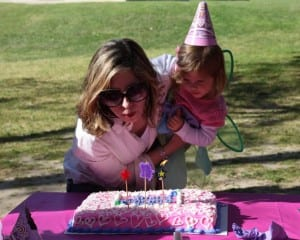 Here I am helping Lainey blow out her candles