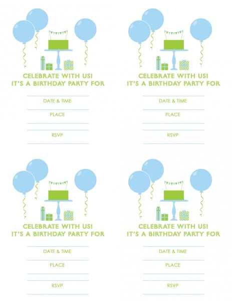 photograph regarding Free Printable Boy Birthday Invitations identified as Cost-free Blue and Eco-friendly (Boy) Birthday Printables against Eco-friendly