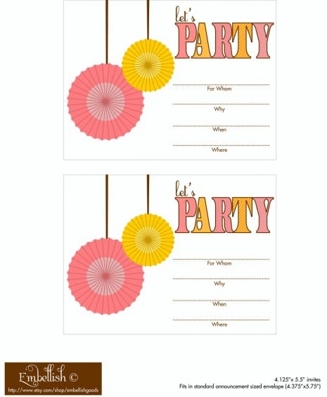 FREE Pink And Yellow Party Printables From Embellish
