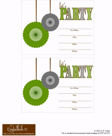 FREE Gray and Green Party Printables From Embellish Catch My Party