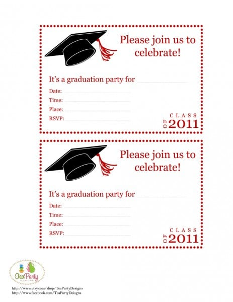 Crafty image for free printable graduation party invitations