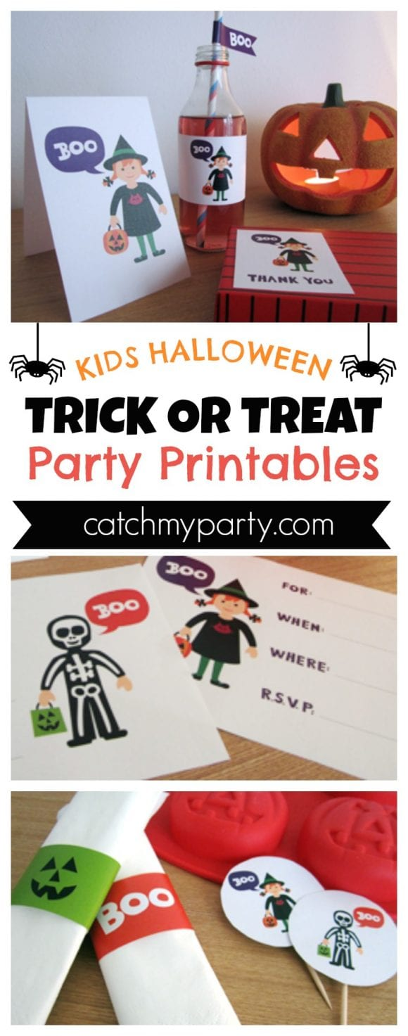 Kids Halloween Trick or Treat Party Printables | CatchMyParty.com