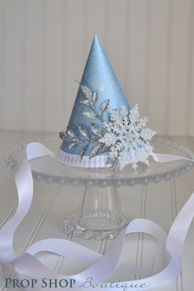 glittered-snowflake-birthday-party-hat