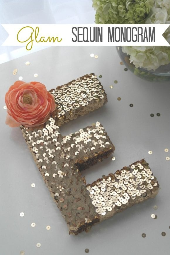 Sequin Monogram Letter DIY| CatchMyParty.com
