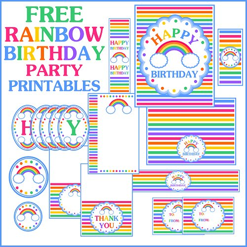 photograph about Free Printable Rainbow referred to as Cost-free Rainbow Birthday Printables towards Printabelle Capture My