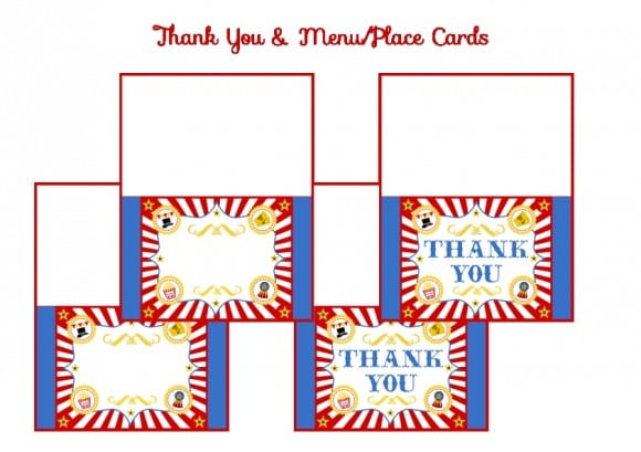 FREE Circus Printablles -Circus Thank You, Menu and Place Cards