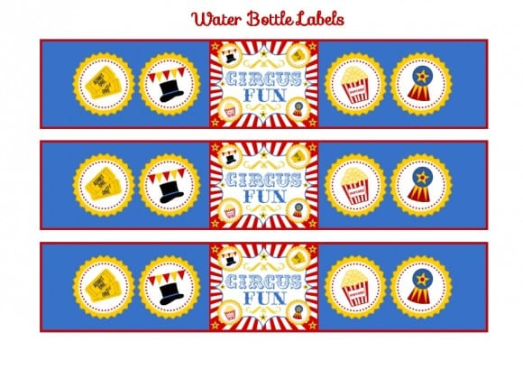 FREE Circus Printablles -Circus Water Bottle Labels
