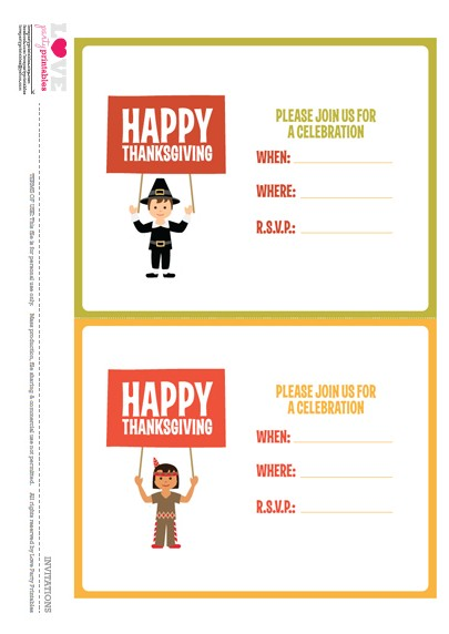 Free Thanksgiving Party Invitations for Kids | CatchMyParty.com