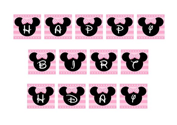 FREE PINK Minnie Mouse Happy Birthday Banner
