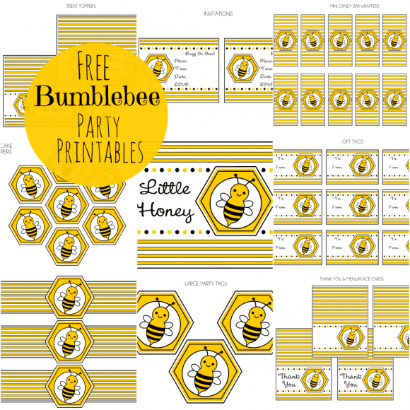 photograph relating to Free Printable Bee Template titled Totally free Bumble Bee Social gathering Printables towards Printabelle Capture My