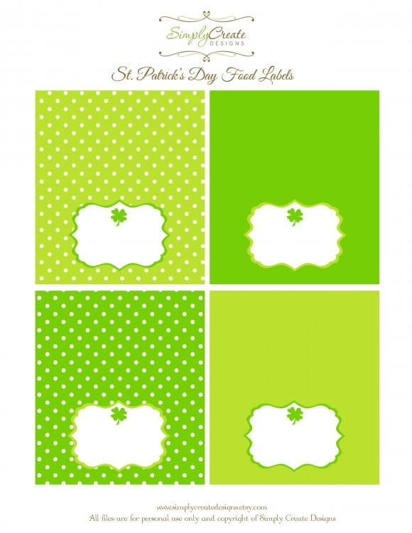 photograph about Free Printable Food Labels for Party referred to as Totally free St. Patricks Working day Occasion Printables against Only Develop