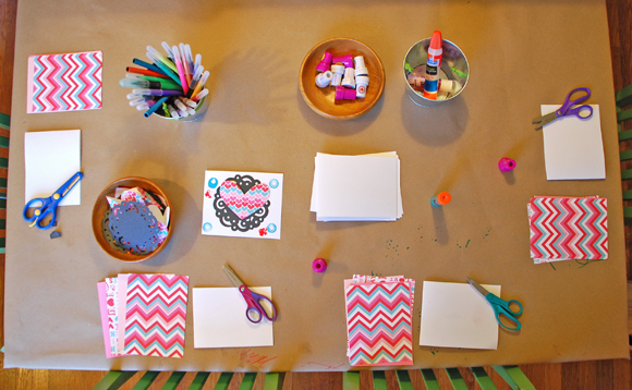Valentine Card Making Table with Stations
