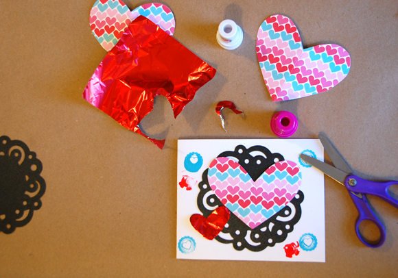 Valentine Card Making Table with hearts