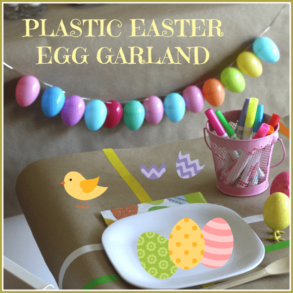 How to make a plastic Easter egg garland | CatchMyParty.com