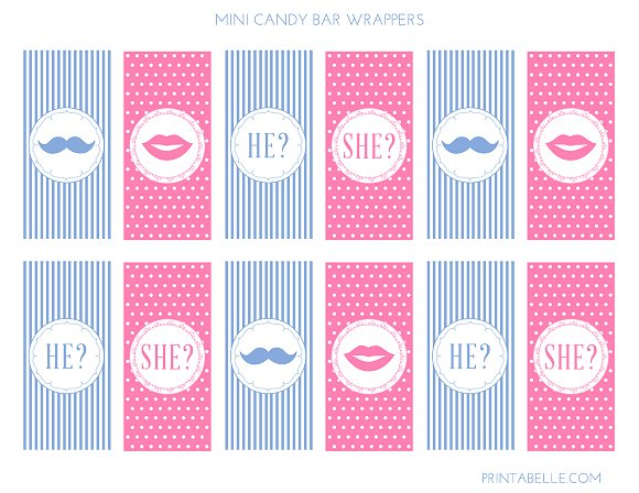 FREE Gender Reveal Candy Bar Wrappers