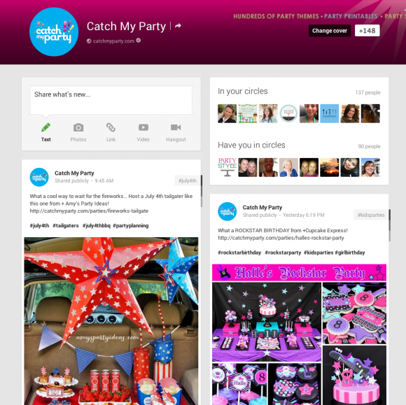 catch-my-party-google+-page