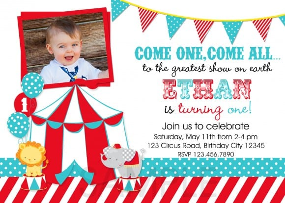 circus invitation red and teal photo