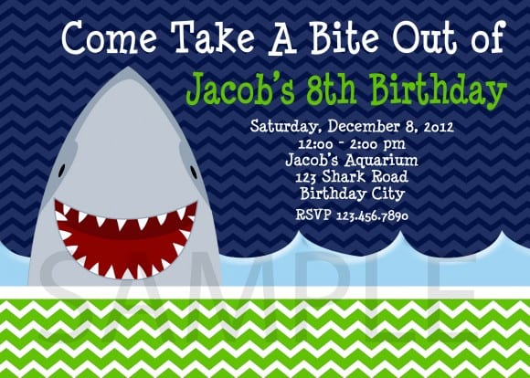 shark birthday invitation navy