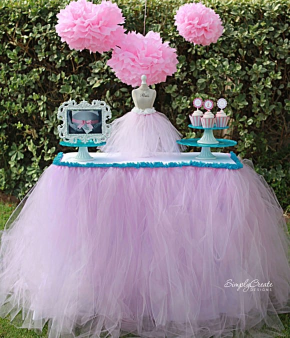 No-Sew Tulle Table Skirt DIY | CatchMyParty.com