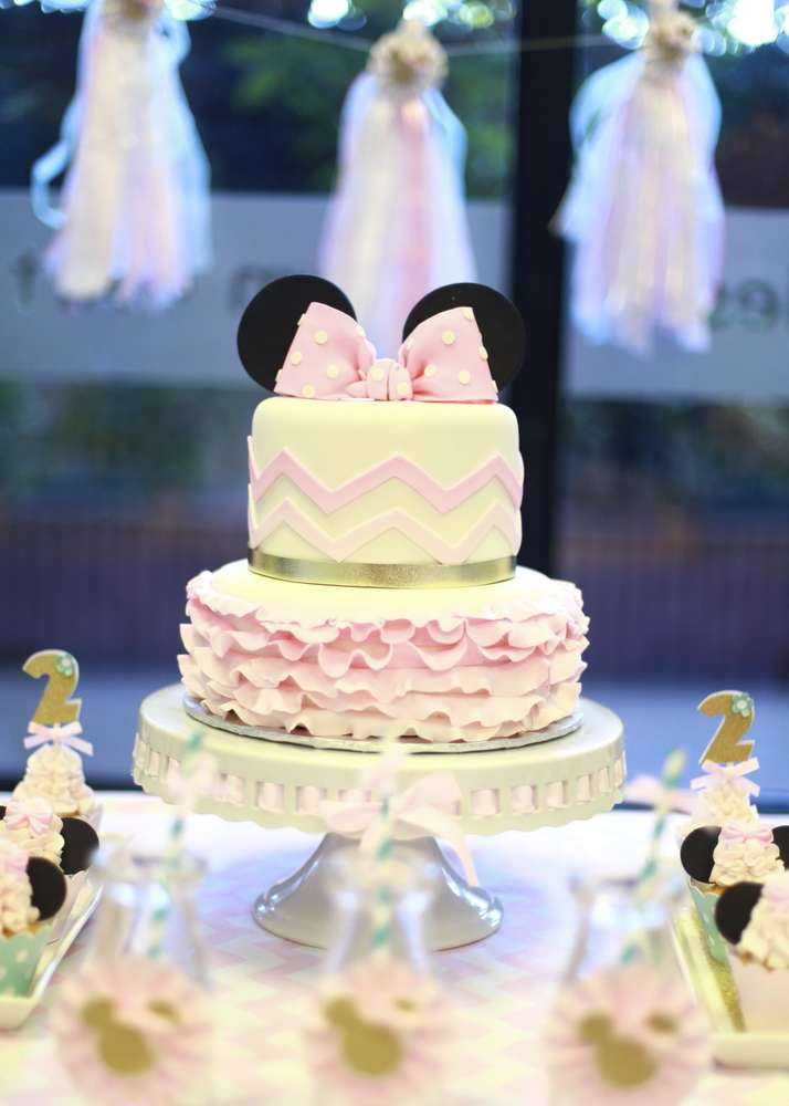 Chevron Minnie Mouse Birthday Cake