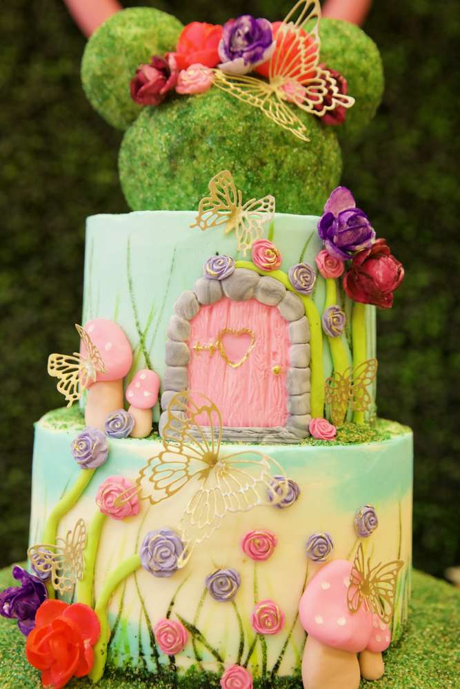 Fairy Woodland Minnie Mouse Birthday Cake
