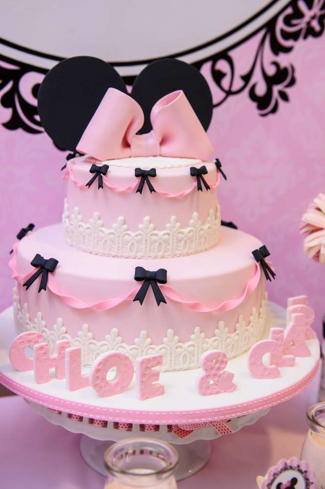 Black Bows and White Lace Piink Minnie Mouse Birthday Cake