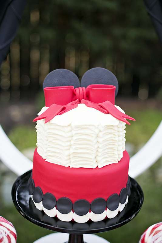 Black Red and White Ruffle Minnie Mouse Birthday Cake