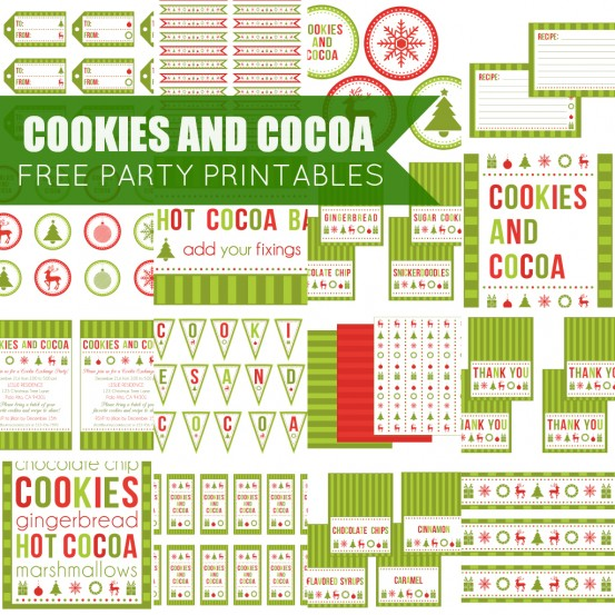 Free Cookies and Cocoa Party Printable Set