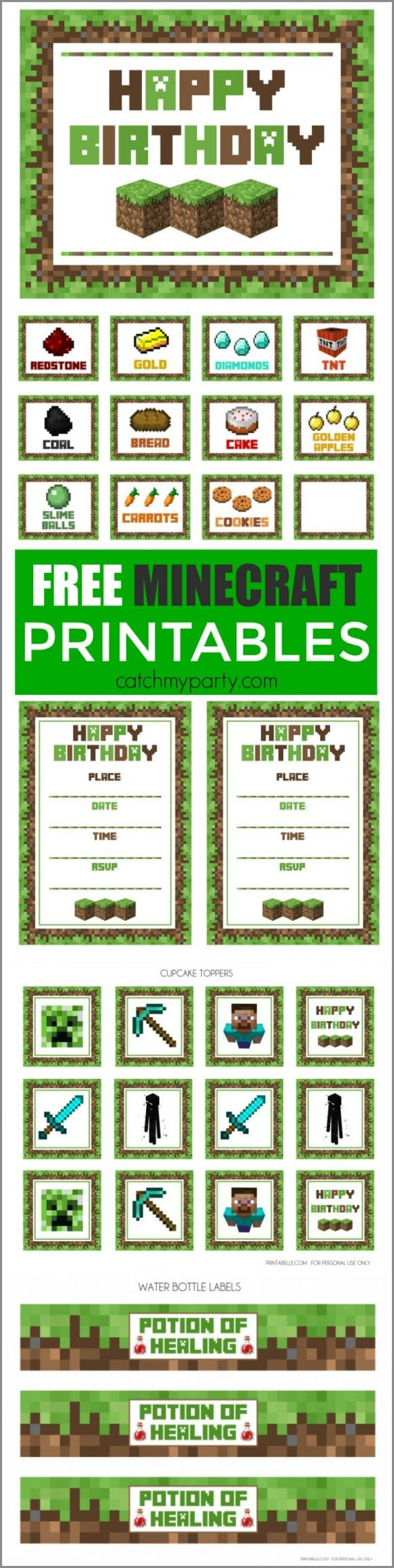 Free Minecraft Party Printables | CatchMyParty.com