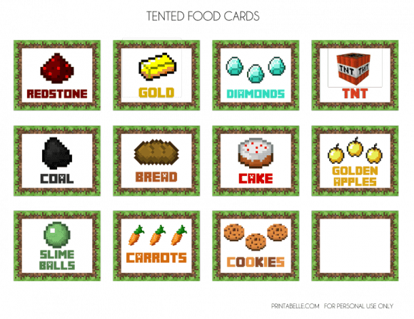 Divine image inside minecraft food labels printable
