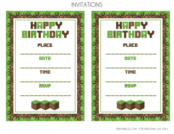 Free Minecraft Party Invitations | CatchMyParty.com