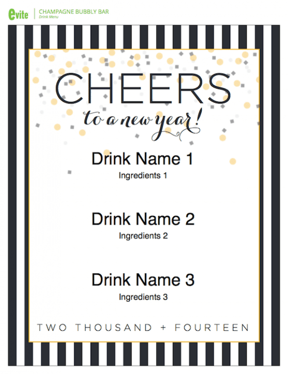 New Year's Eve Champagne Bar - free printables