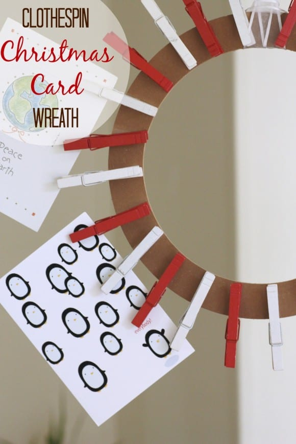 Clothespin Christmas card wreath craft DIY
