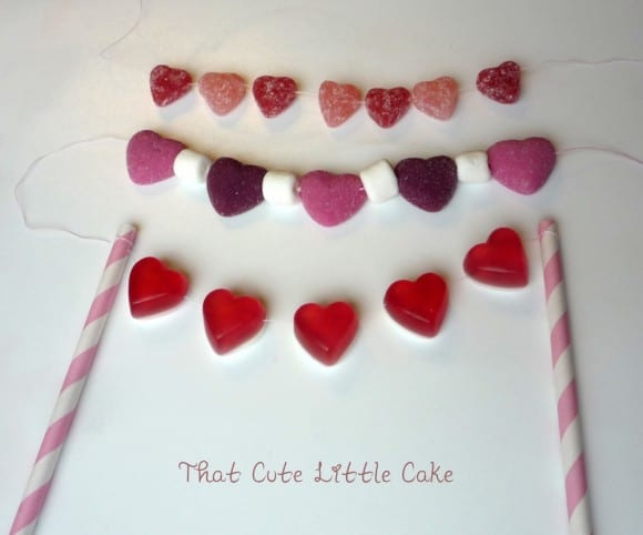 Cake bunting made out of candy heart