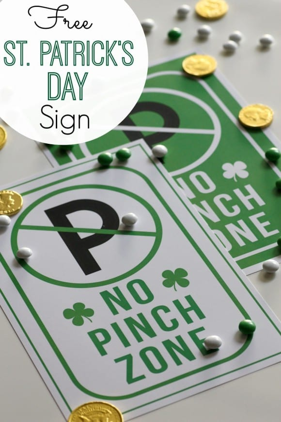 "Free printable St. Patrick's Day ""no pinch zone"" sign 