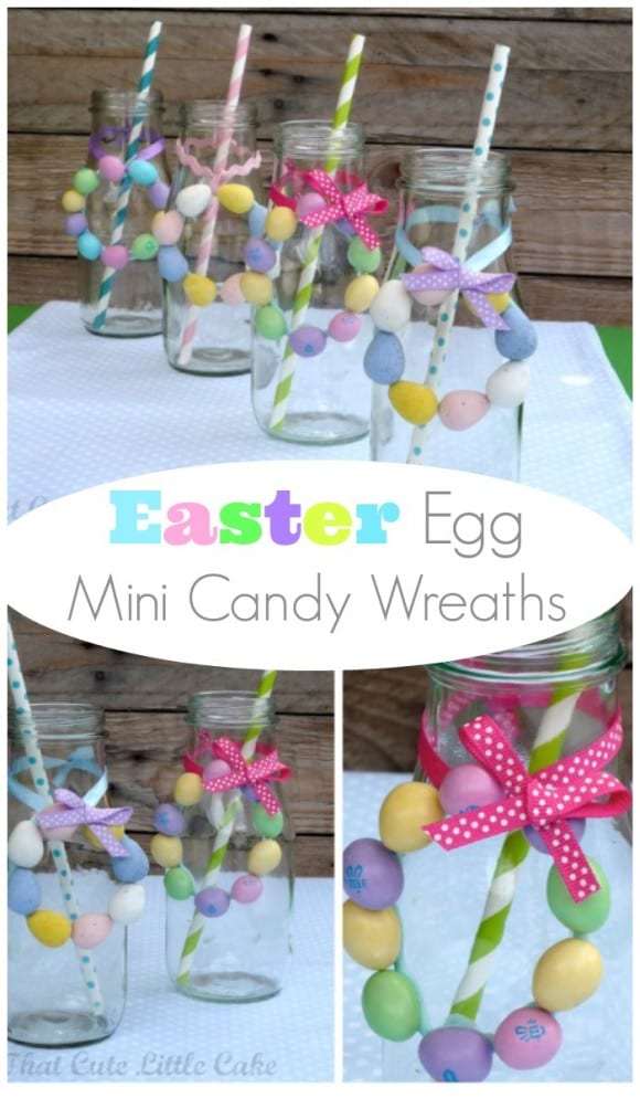 Easter egg mini candy wreath DIY | CatchMyParty.com