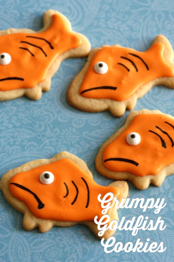 Grumpy goldfish sugar cookies for Grumpy Cat | CatchMyParty.com