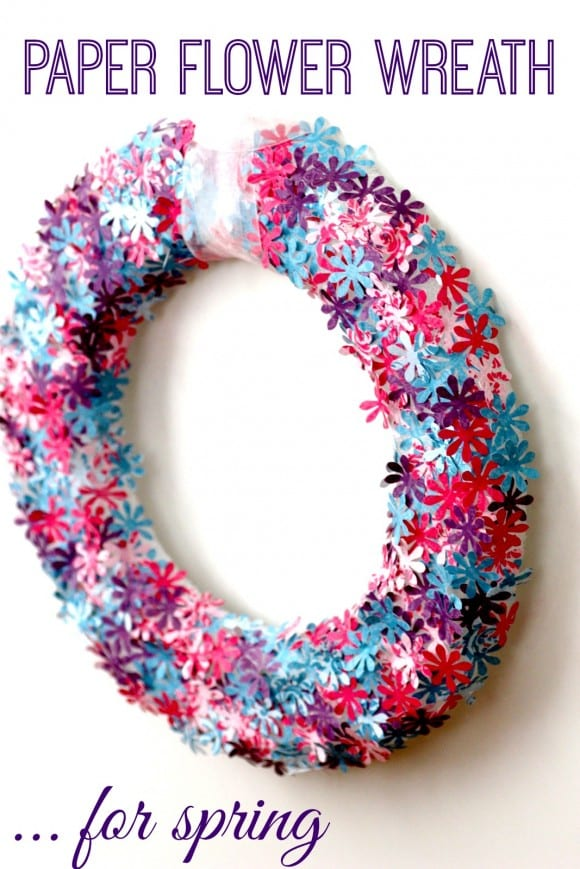 Spring paper flower wreath DIY | CatchMyParty.com