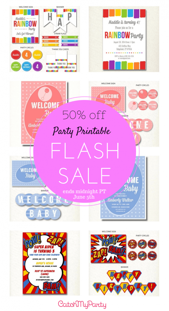 Party Printable 24 Hour Flash Sale 50% off ends 6/5 at midnight! | CatchMyParty.com