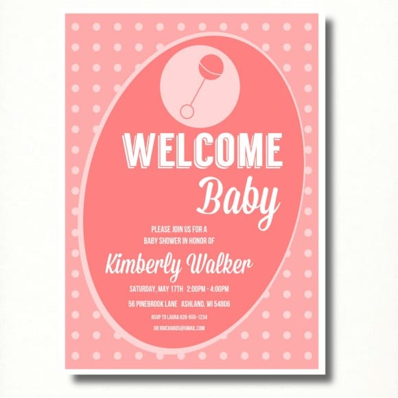 Pink Baby Shower Invitation | CatchMyParty.com