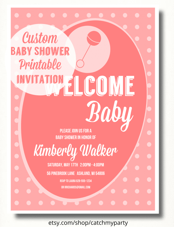 Custom Pink Girl Baby Shower Invitation | CatchMyParty.com