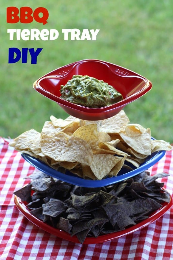 BBQ Tiered Serving Tray DIY | CatchMyParty.com