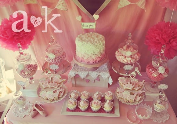 Pink baby shower dessert table | CatchMyParty.com