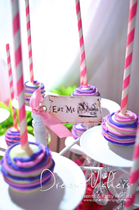 Alice in Wonderland Party Cake Pop Ideas | CatchMyParty.com