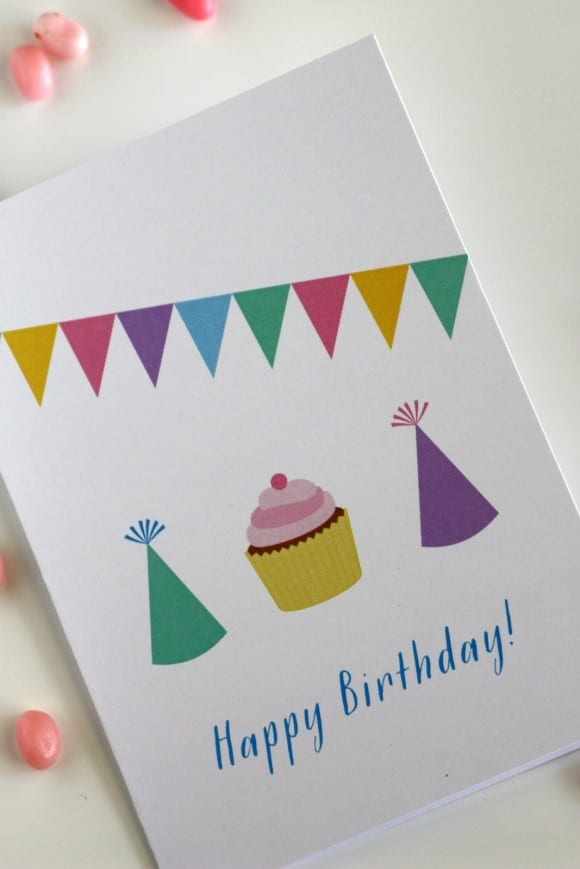 Free printable birthday cards - Design Banner, party hats and cupcake
