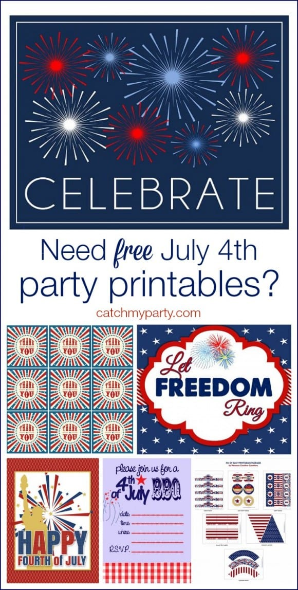 Free July 4th BBQ Party Printables | CatchMyParty.com