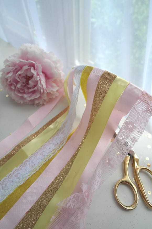 Feminine ribbon chandelier DIY tutorial, great party decor! | CatchMyParty.com