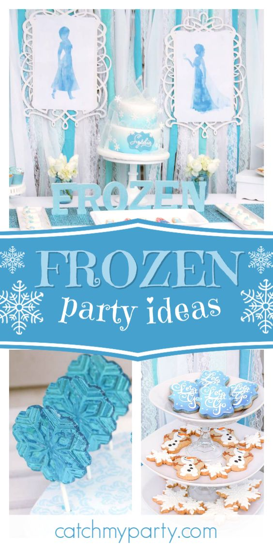 Collage of a Feminine Frozen Birthday Party