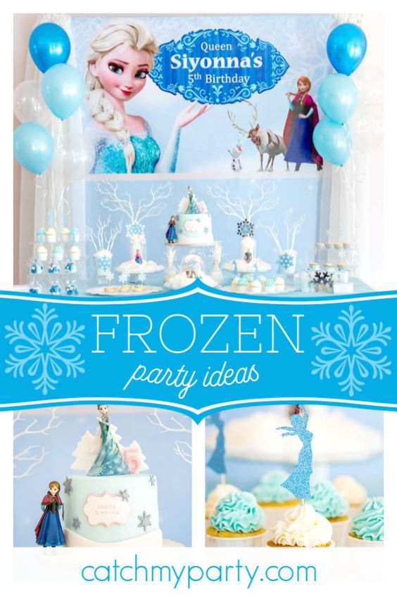 Collage of a Delicate Frozen Birthday Party