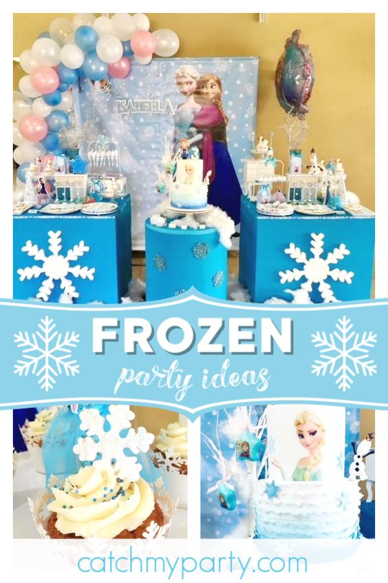 Collage of a Frozen Snowflake Birthday Party